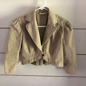 Cropped khaki blazer